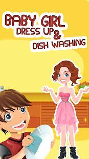 baby girl dress up and dishwashing