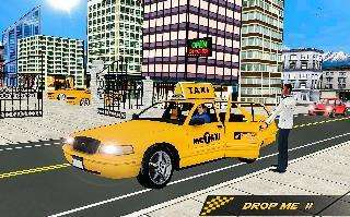 modern taxi pick up passenger cabby sim nyc town