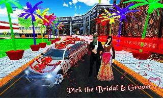 bridal limo car and wedding bus 3d